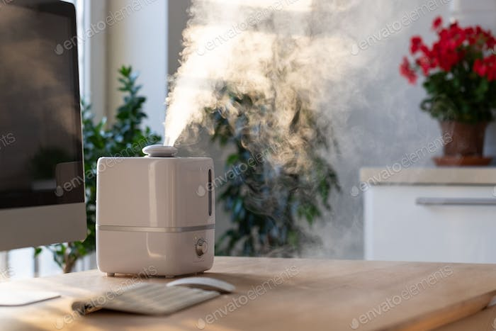 Aroma oil diffuser on table at home, steam from the air humidifier, comfortable living conditions