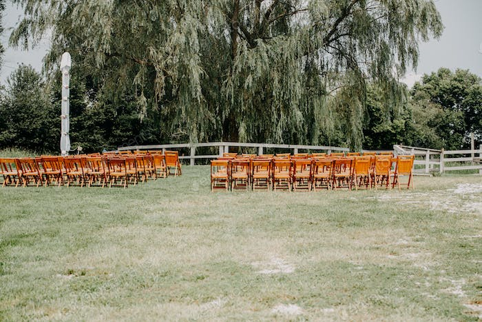 Outdoor wedding seating area for ceremony