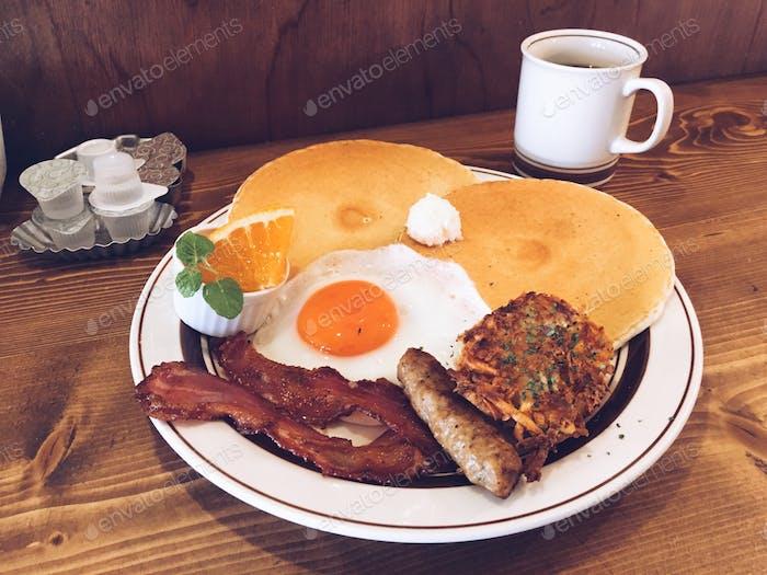 A pancake brunch at a diner.