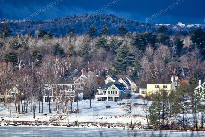 Typical lakeside neighborhood in New Hampshire right before the big storm hit