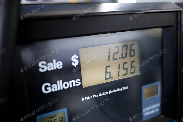 Filling up a car with gasoline at the pump