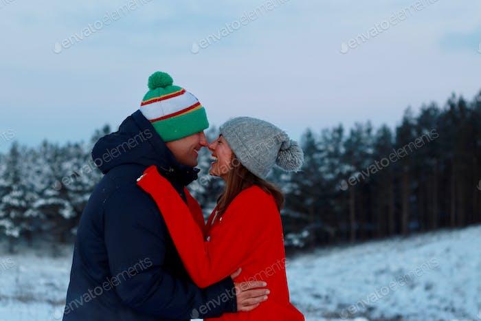 Winter romance, happiness, happy marriage, happy couple.