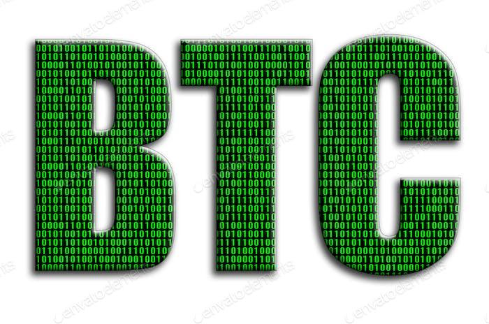 BTC. La inscripción tiene una textura de la fotografía, que representa el código binario verde.