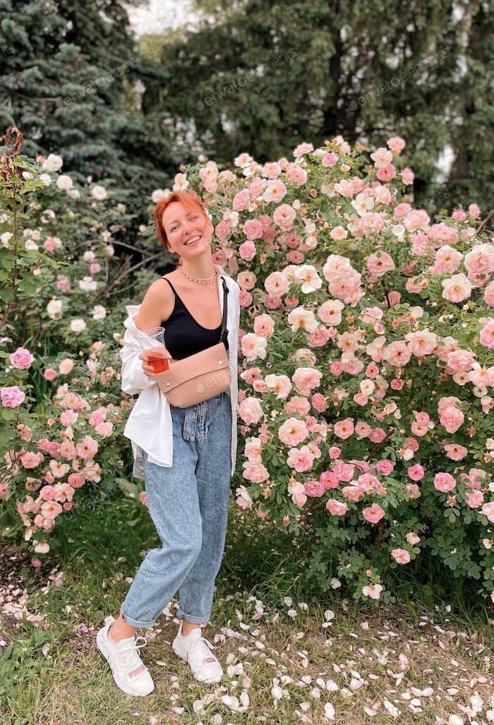 In a rose garden