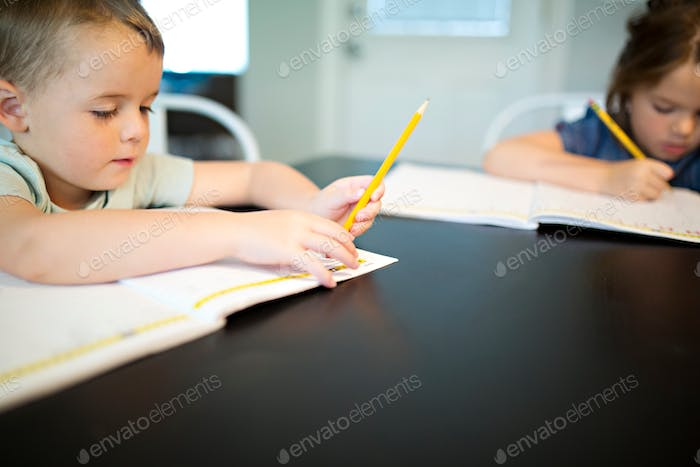 kids writing a letter or writing a letter to a friend