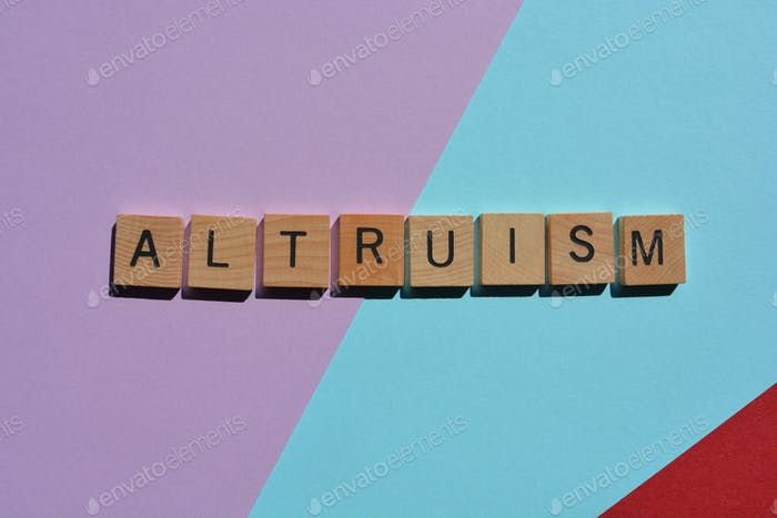 Altruism, word in 3D wooden alphabet letters, isolated on colorful background with copy space