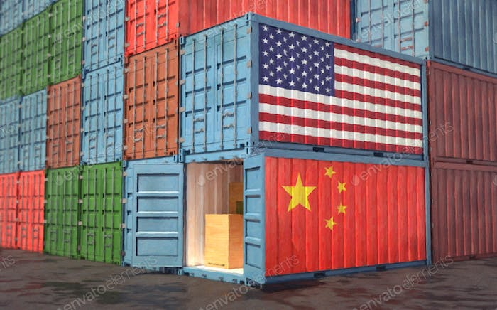 Stacks of Freight containers. USA and China flag