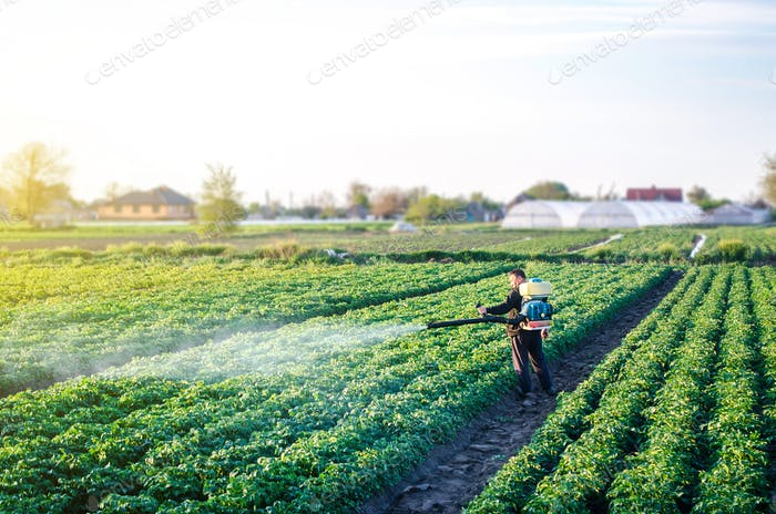 Farmer with a mist sprayer blower processes the potato plantation. Protection and care.