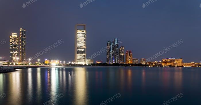 Abu Dhabi skyline at blue hour