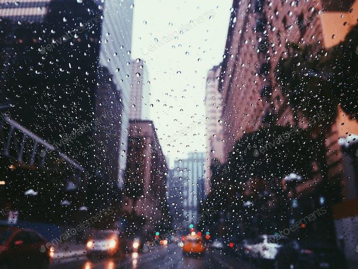 Raining in Los Angeles.