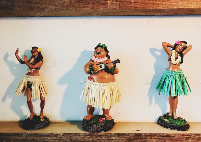 Hawaiian and Polynesian Dancers classic traditional cultural toys.