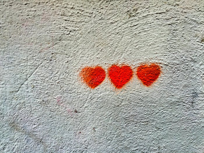 Romantic graffiti with 3 red heart
