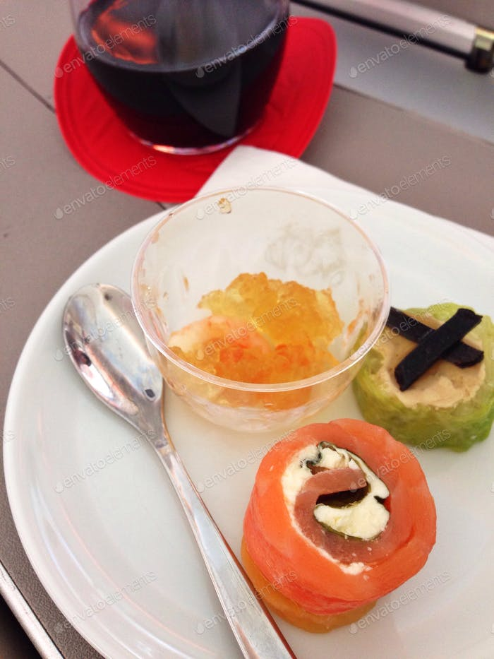 Remembering a first class flight (seafood amuse-bouche with port)
