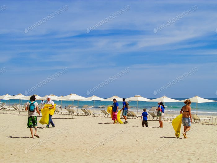 Volunteers participating in an international beach cleanup