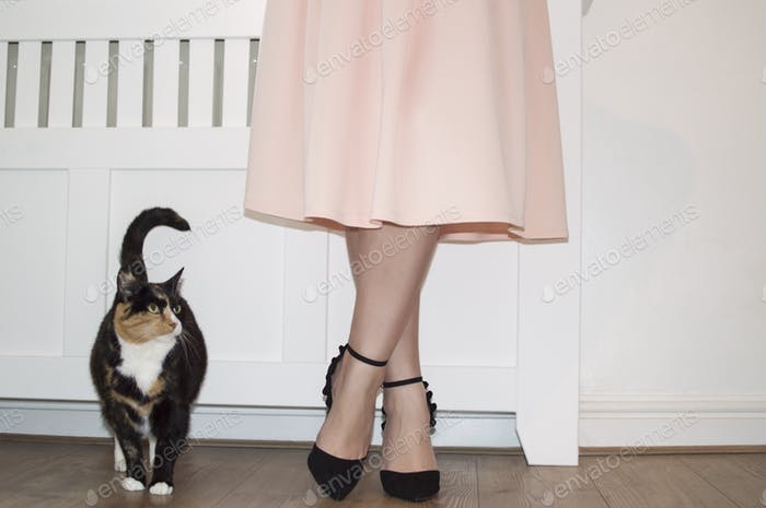 woman and a pet cat standing next to each other.