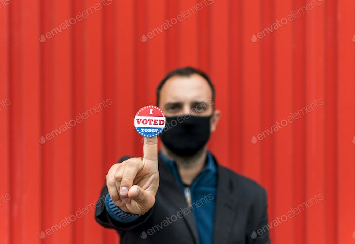 Man with face mask, covid, election, voting, presidential election usa, coronavirus.