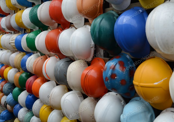 Safety helmets, found on the beach of Texel!
