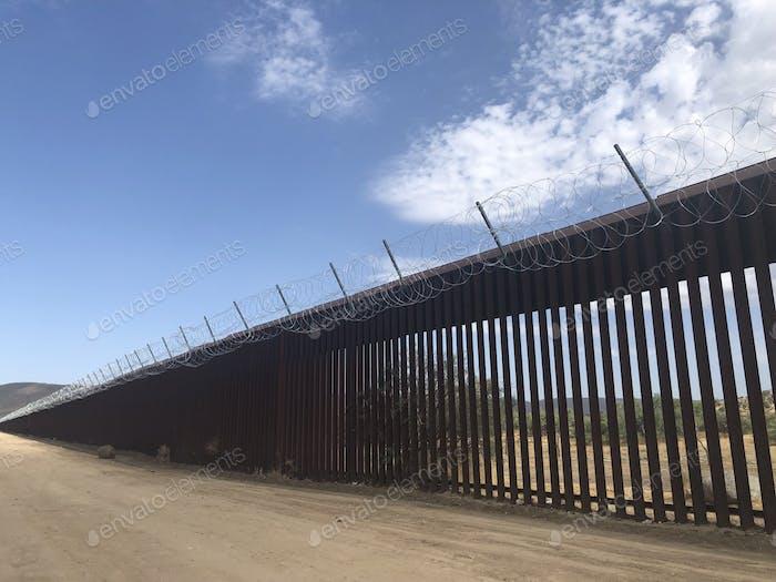 Fences, border, US and Mexico border, blue sky