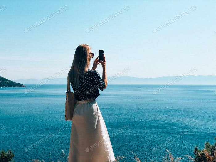 a girl takes a picture