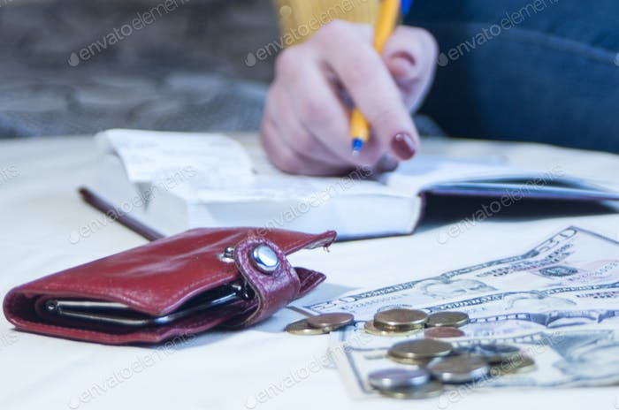 business woman making notes in Notepad,  banknotes, dollars, pen, accounting, savings, income, inter