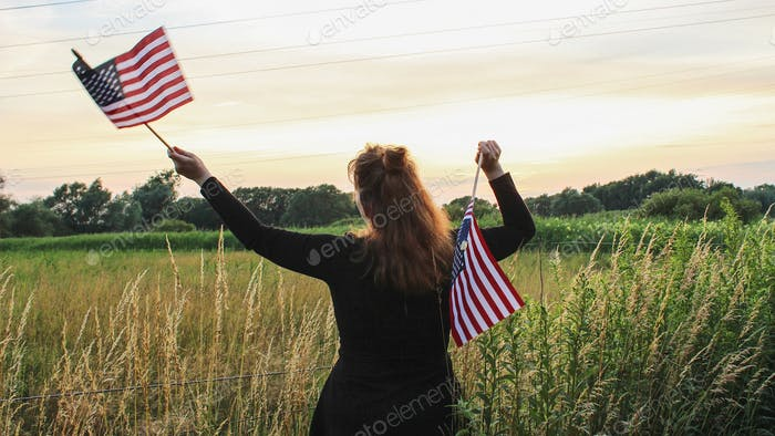 Woman holding flags of the USA - NOMINATED ✨😊 -