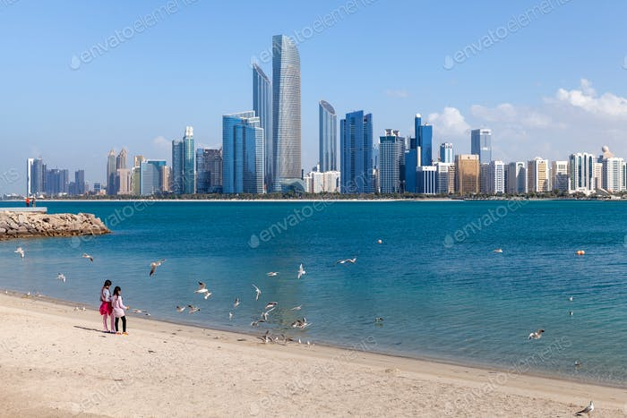 Abu Dhabi cityscape with the beach and seagulls flying around
