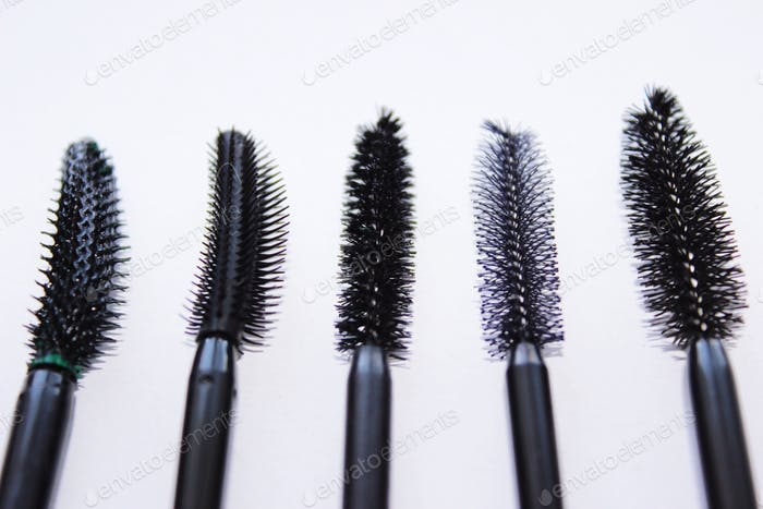 Eyelash brush, woman's secret. beauty care. makeup application. makeup routine