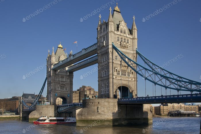 Tower Bridge over the River Thames in London in the United Kingdom