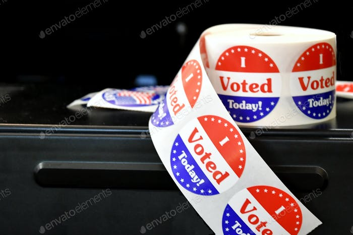 I Voted Today Stickers handed out on election day after casting ballot for politician