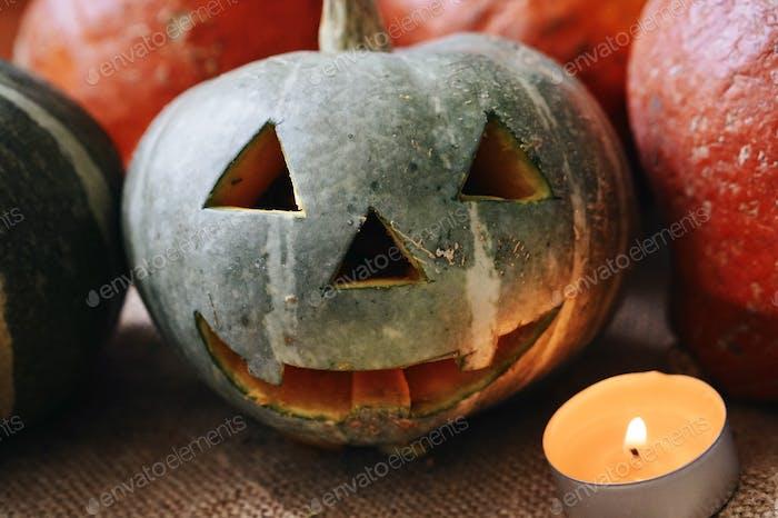 Carved pumpkin for Halloween