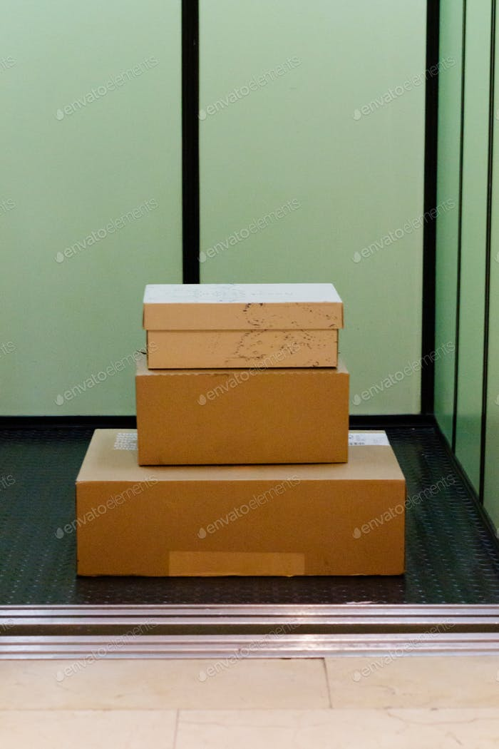 packages in the elevator, box, business, delivery