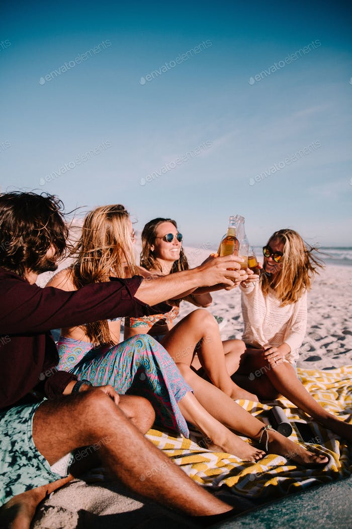 Summer Beach Party with group of millennials