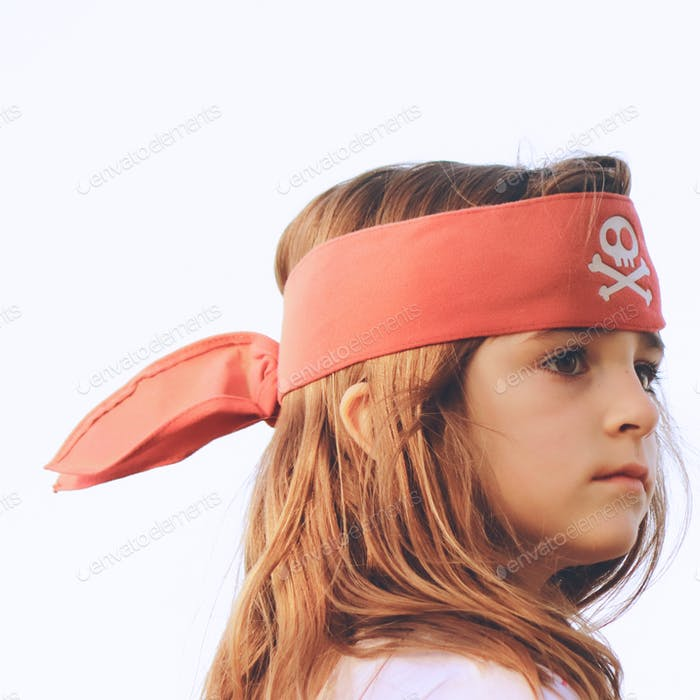 Girl in pirate bandana.
