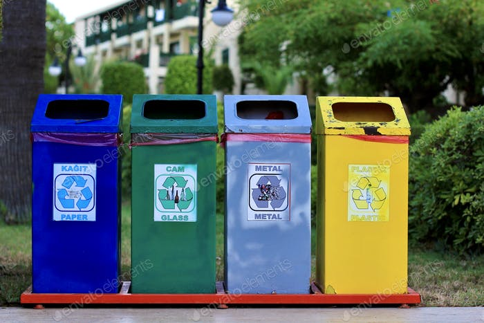 Different colored recycle garbage trash bins (cans) Environmental education, Disposal Classification