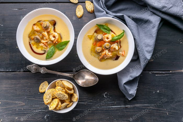 Vegetable soup with prawns and mushrooms. Healthy and Low-Calorie Seafood Recipes.