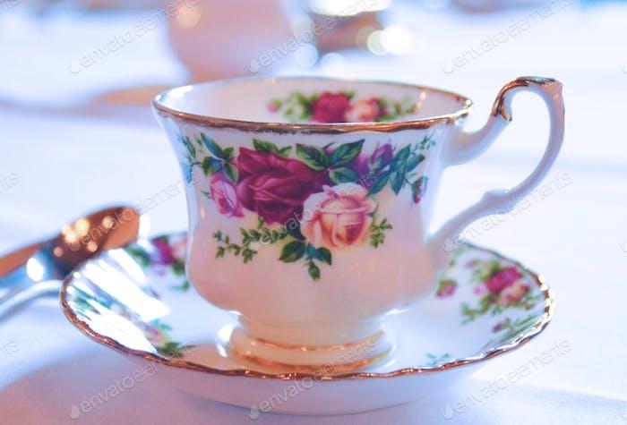 Vintage Teacup with Roses