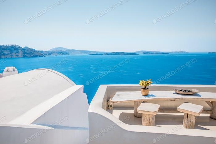 Summer Balcony In Famous Greek Island Santorini In Cyclades