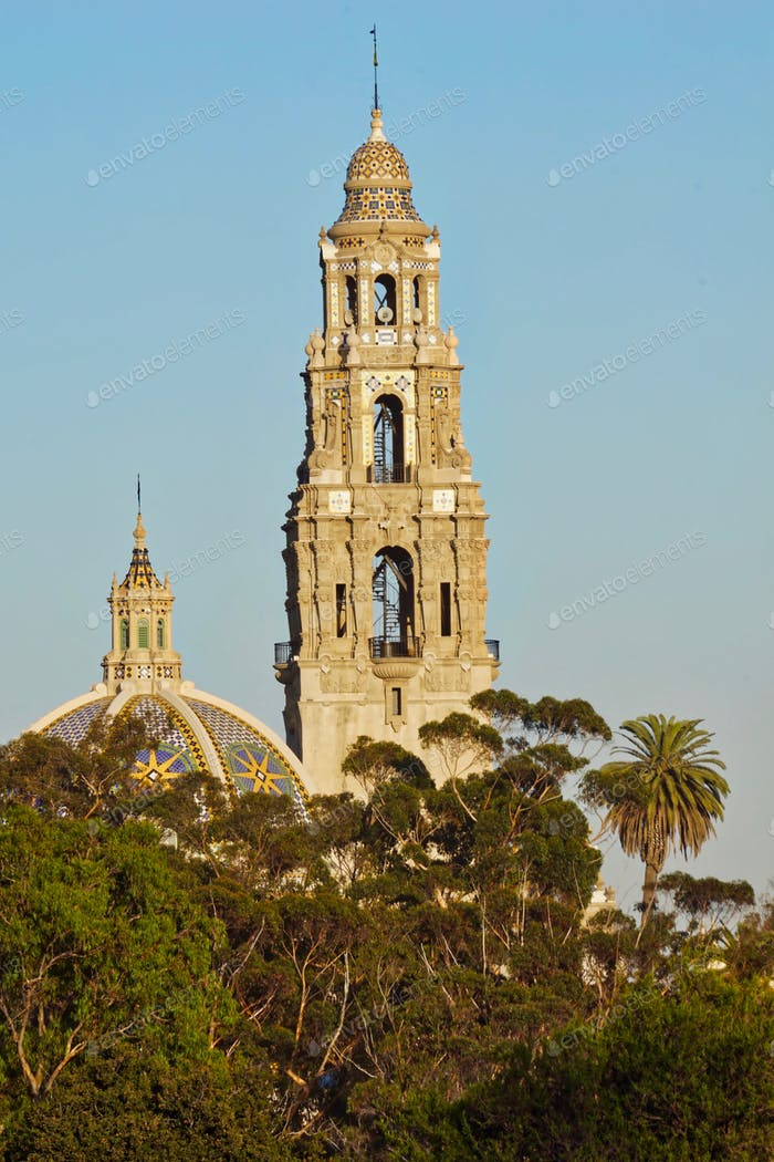 The beautiful and iconic California Tower in Balboa Park, San Diego.
