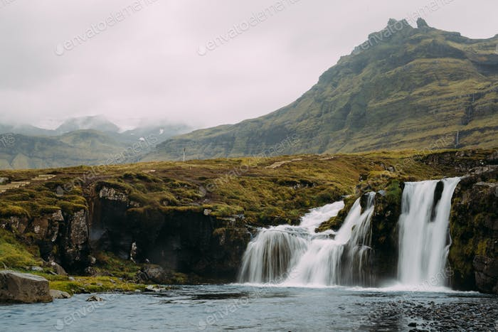 Waterfall and Glacial Volcanos.