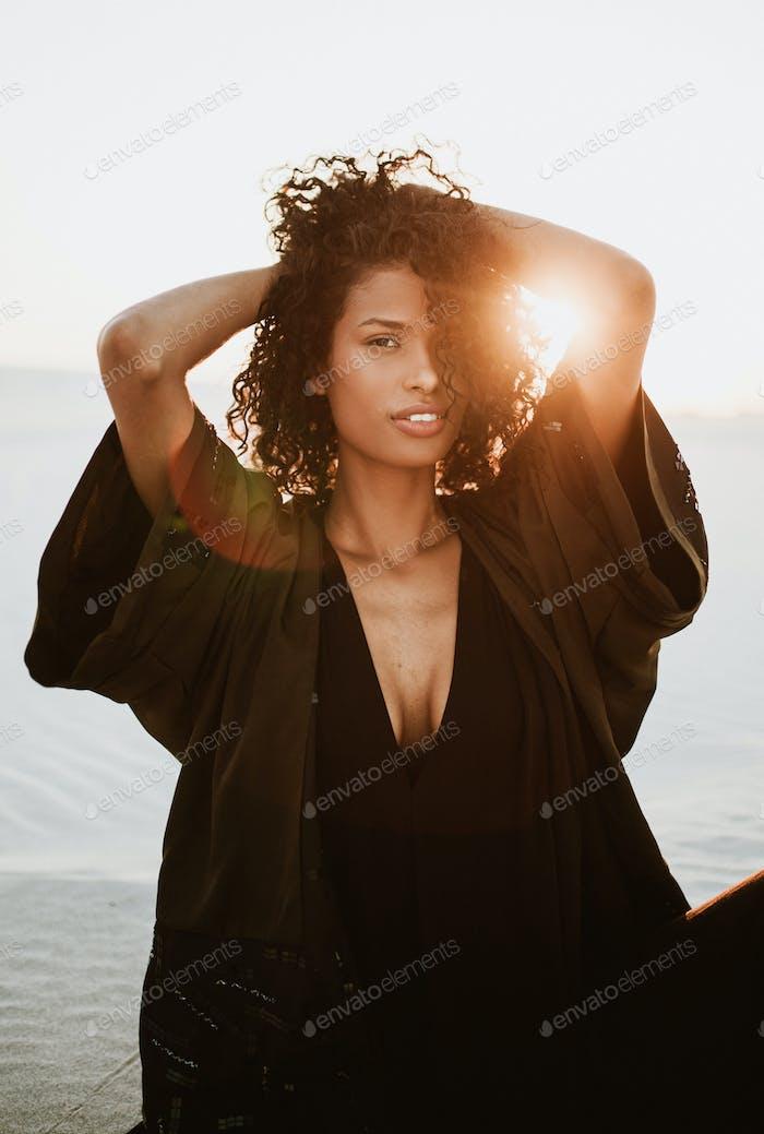 Beautiful woman in sunset