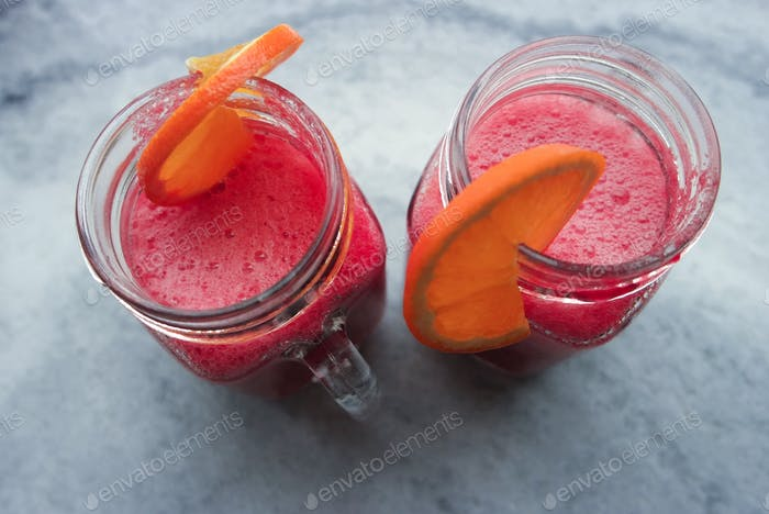 Healthy smoothies with beetroot and orange juice