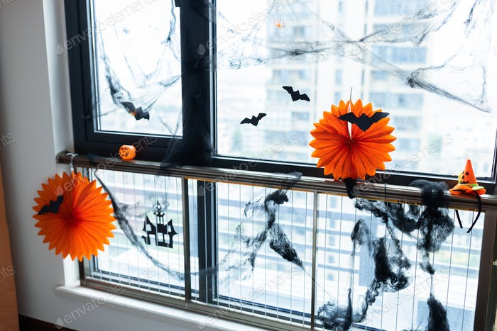 Home decor in modern apartment for Halloween celebration with accessories