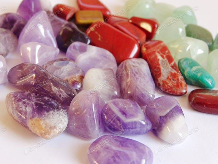 Multicolored gemstones and minerals