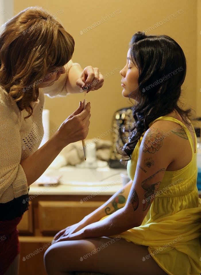 Make-up Routine-Bridesmaid getting pampered before her best friends wedding