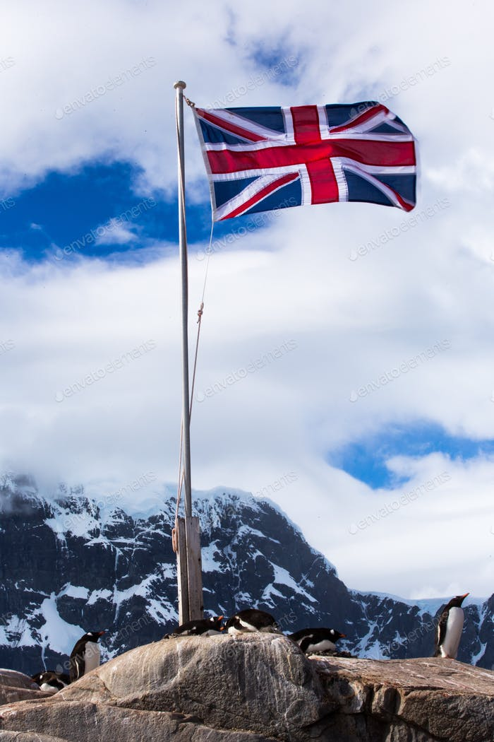 The flag of the United Kingdom flies over Antarctica