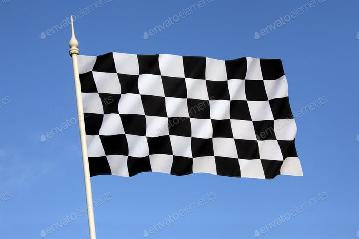 Checkered Flag - a flag with a black-and-white checkered pattern