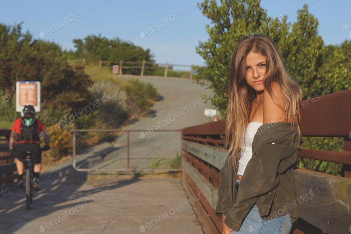 Young woman on a bridge in Mission Trails.