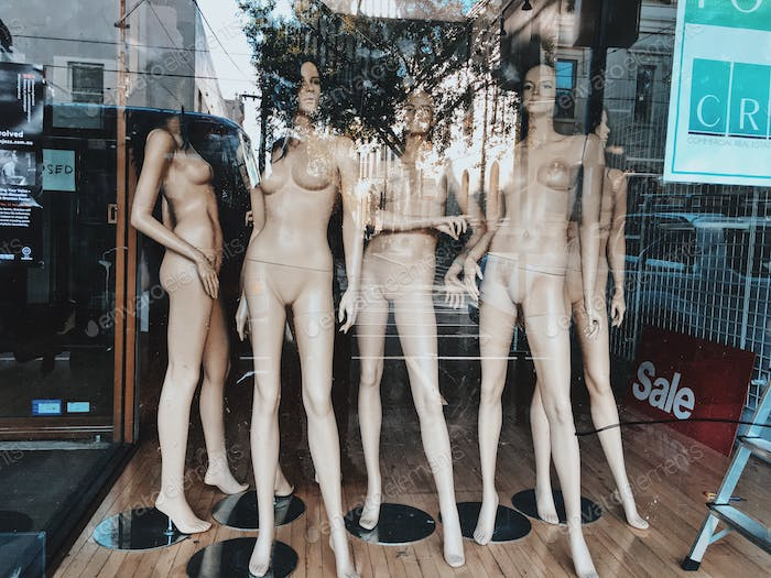 Naked mannequin display