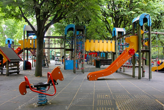 Empty Bright and bold playground in Paris, France