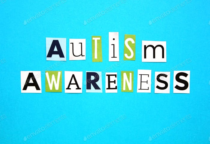 April is Autism Awareness month - words, flat lay style